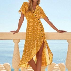 Yellow Floral Print Midi Dress